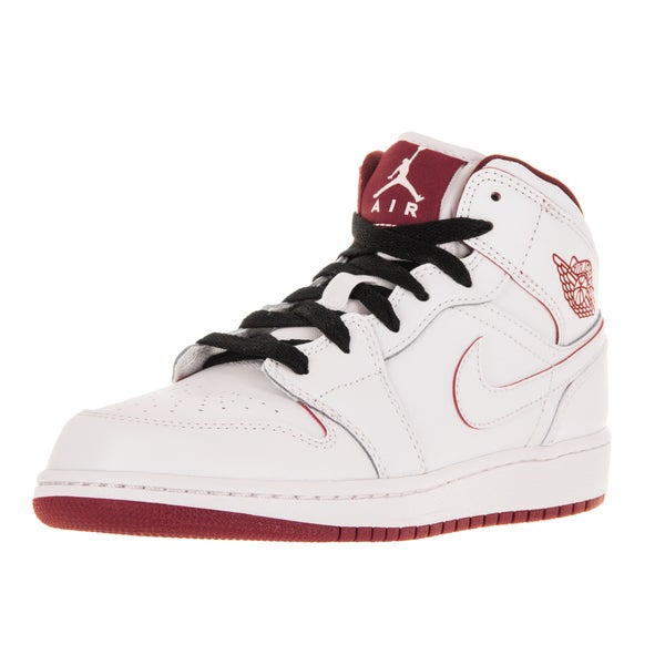 Nike Jordan Kid's Air Jordan 1 Mid Bg White/Gym Red/Black Basketball Shoe