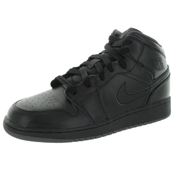 Nike Jordan Kid's Air Jordan 1 Mid Bg Black/Black/Dark Grey Basketball Shoe