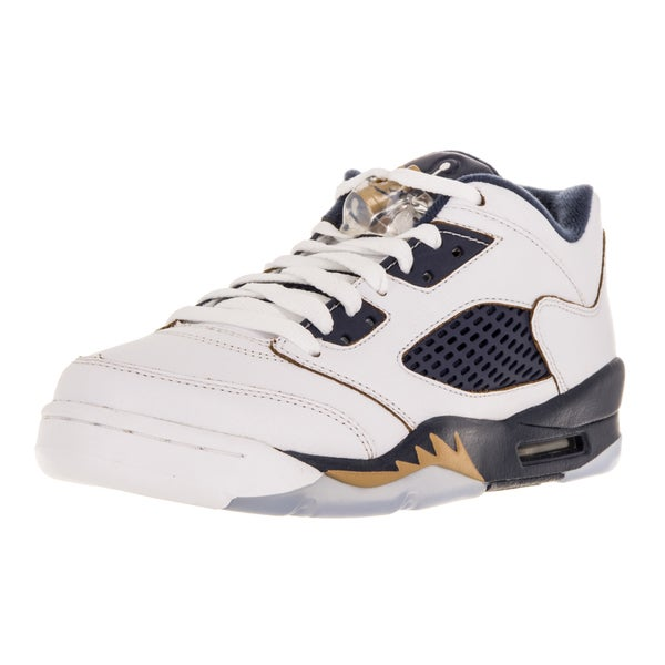 Nike Jordan Kid's Air Jordan 5 Retro Low (Gs) White/Metallic Gold/Mid Navy Basketball Shoe