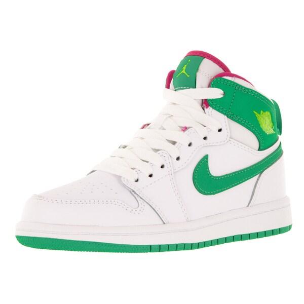 Nike Jordan Kid's Jordan 1 Retro High Gp White/Gamma Green/Vvd Pink/Cybr Basketball Shoe