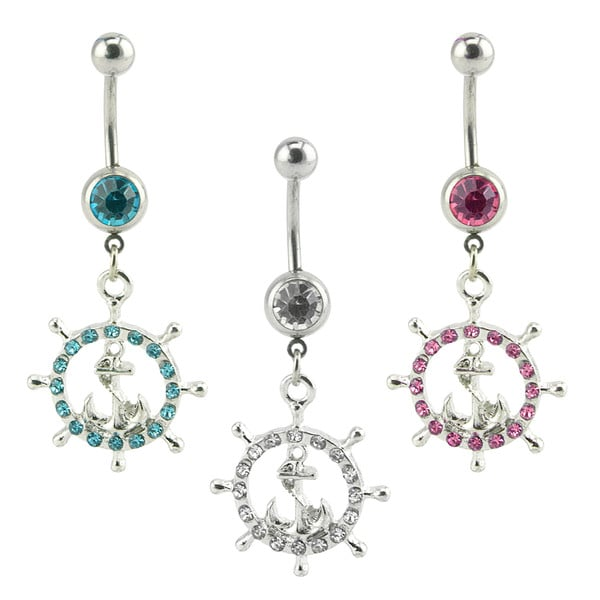 Supreme Jewelry Nautical Wheel and Anchor Belly Ring 3-pack 19837541