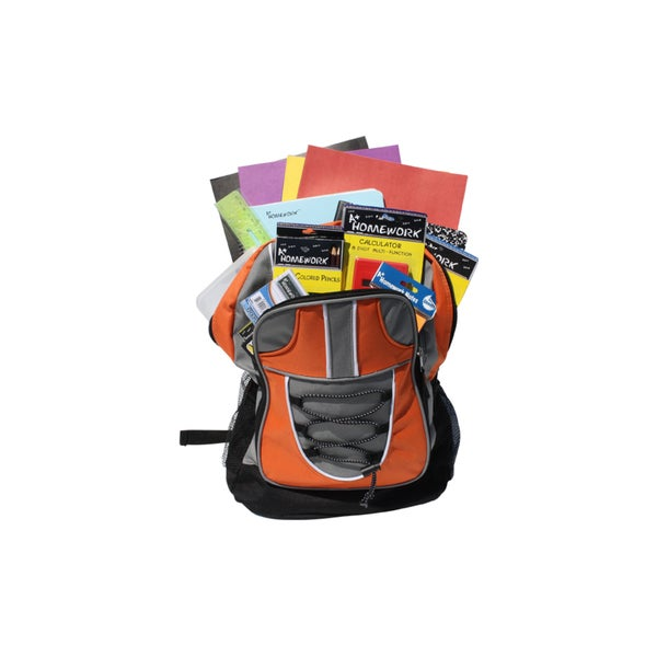 Nylon 17-inch Prefilled Backpack With 18-piece School Supply Kit