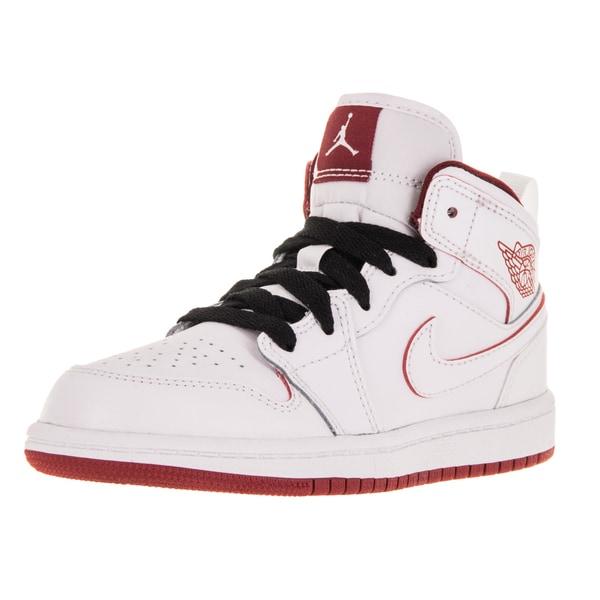 Nike Jordan Kid's Jordan 1 Mid Bp White/Gym Red/Black Basketball Shoe