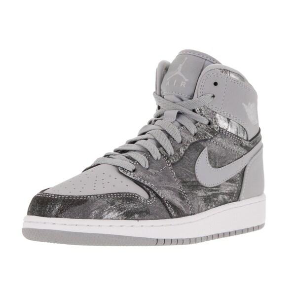 Nike Jordan Kid's Air Jordan 1 Retro Hi Prem Gg Wolf Grey/Metallic Silver/White Basketball Shoe