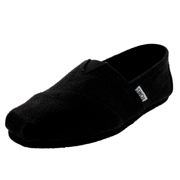 Toms Classics Black Burlap Casual Shoes Men's Us (Black)