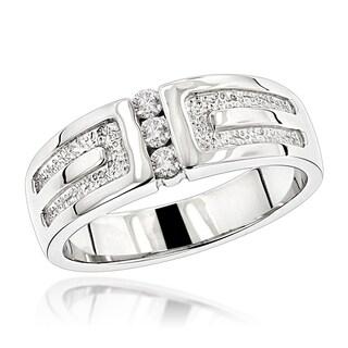 Luxurman 14K Gold Men's Diamond Wedding Ring 0.24ct (G-H; SI1-SI2)