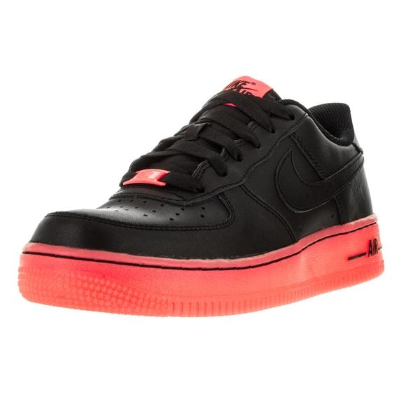 Nike Kid's Air Force 1 Premium (Gs) Black/Hot Lava Basketball Shoe