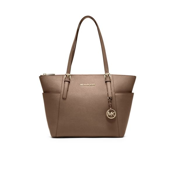 Michael Kors Jet Set East/West Dark Dune Leather Top-zip Tote Bag