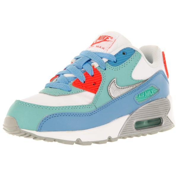 Nike Kid's Air Max 90 Ltr (Ps) White/Metallic Silver/Lksd/Artsn Running Shoe