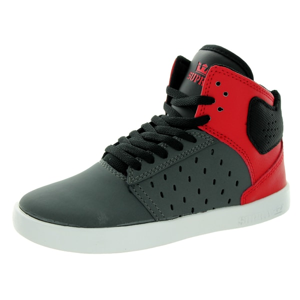Supra Kid's Atom Grey/Red/White Skate Shoe