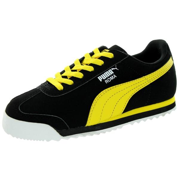 Puma Kid's Roma Sl Nbk Black/Vibrant Yellow/White Casual Shoe 19841617