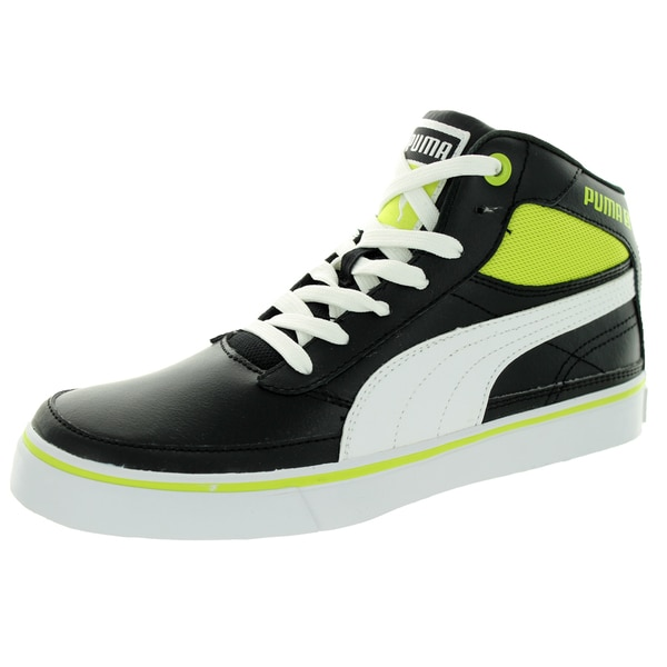 Puma Kid's Maeko S Mid Jr Black/White/Lime Punch Casual Shoe
