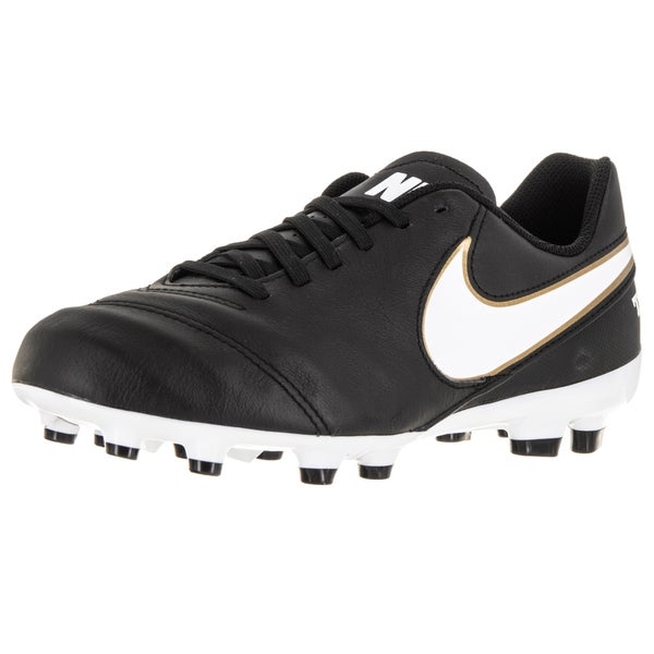 Nike Kid's Jr Tiempo Legend Vi Fg Black/White/Metallic Gold Soccer Cleat