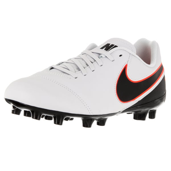 Nike Kid's Jr Tiempo Legend Vi Fg Pure Platinum/Black/ Orange Soccer Cleat