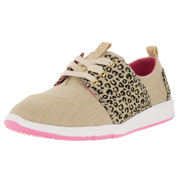 Toms Kid'S Del Rey Beige Fabric with Leopard Print Casual Shoe
