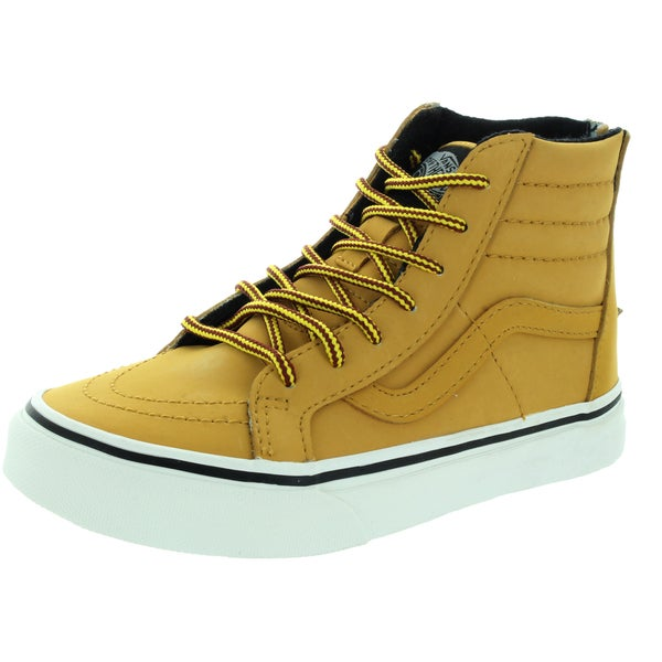Vans Kid's Sk8-Hi Zip (Mte) Honey/Leather Skate Shoe