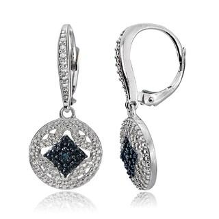DB Designs Silver Black or Blue Diamond Accent Filigree Dangle Earrings