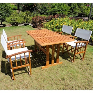 International Caravan Fasano Acacia Hardwood Outdoor Folding Dining Set (Set of 5)