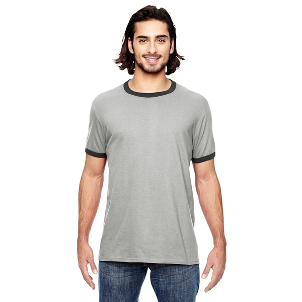 Trim Fit Men's Heather Grey and Black Jersey Short Sleeve T-shirt