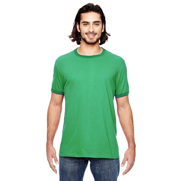 Trim Fit Men's Heather Grey/Triblend Kelly Green Polyester/Cotton Jersey Knit T-shirt