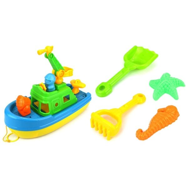 Velocity Toys Rescue Tug Boat Kids' Toy Beach Sandbox Boat Playset (Colors May Vary)