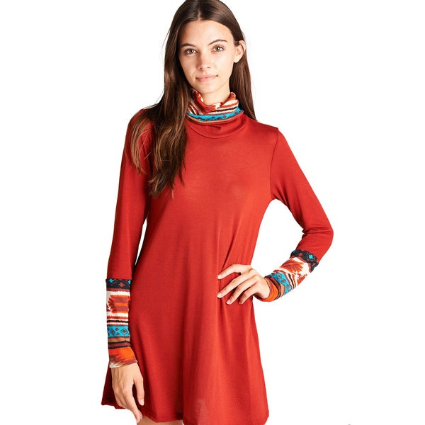 Orange Creek Cowl-neck Tunic Dress with Tribal Accent Cuff and Collar