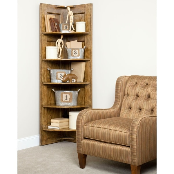 Broyhill New Vintage Brown Corner Nik-Nak Shelf