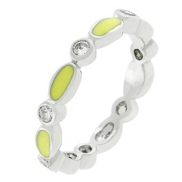 Kate Bissett Yellow Link Enamel Stacker Ring