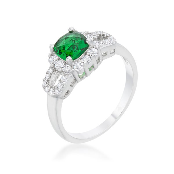 Kate Bissett Liz 1.1-carat Emerald and Cubic Zirconia Rhodium-finish Classic Ring