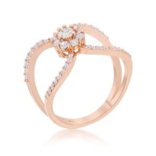 Kate Bissett Joyce 0.4-carat Cubic Zirconia Rose Gold Floral Wrap Ring - White