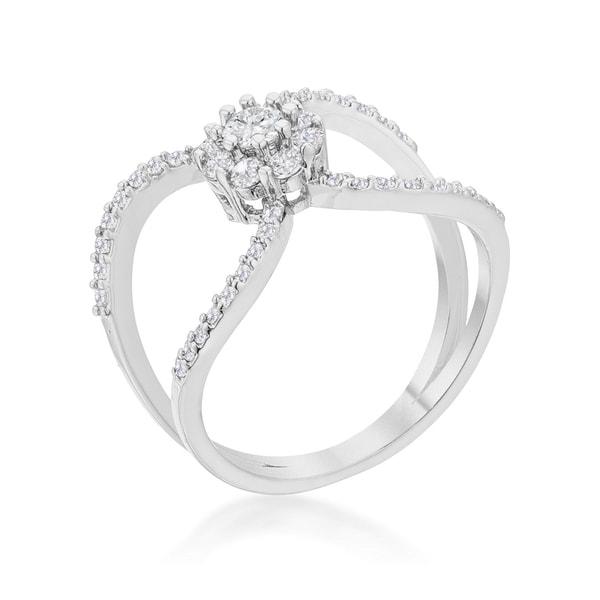 Kate Bissett 0.4ct CZ Rhodium Joyce Delicate Floral Wrap Ring