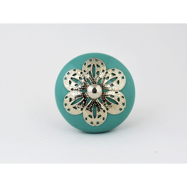Turquoise Ceramic Silver Filigree Knob (Set of 2)