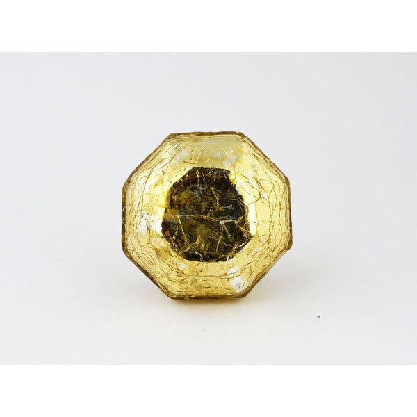 Mercury Gold Crackle Glass Cabinet Knobs (Set of 2)