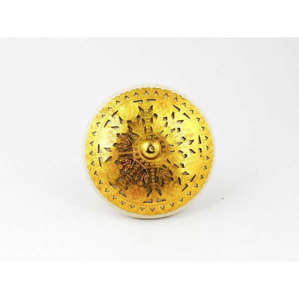 Ivory Gold Ceramic Filigree Knob (Set of 2)