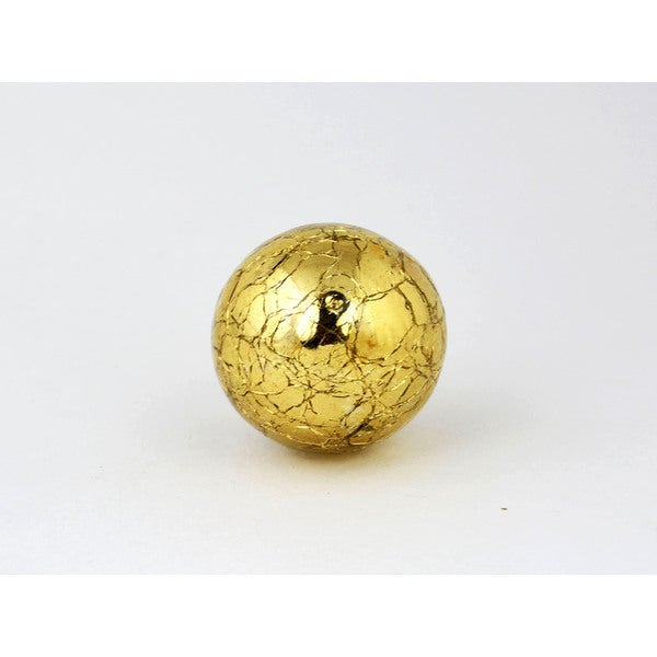 Round Mercury Gold Crackle Glass Cabinet Knobs, 2-piece Set