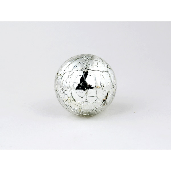 Round Silver Mercury Crackle Glass Cabinet Knobs (Set of 2)