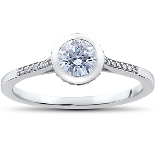 14k White Gold 5/8 ct Lab Grown Eco Friendly Diamond Engagement Ring (F-G,SI1-SI2)