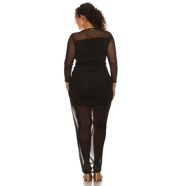 Hadari Women's Plus Size Bodycon Mesh Dress