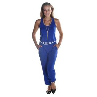 Hadari Women's Sleeveless Royal Blue Scoop Neckline Pant Jumpsuit with Elastic Waistline and Ankle Cuff