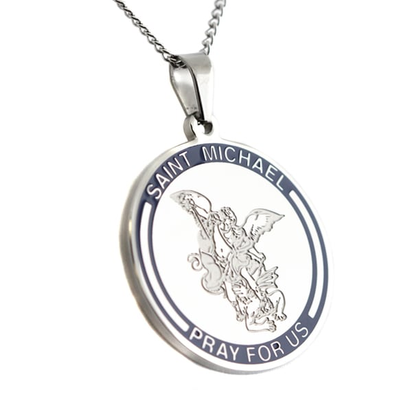 Saint Michael Pray For Us Round Pendant