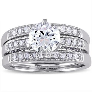 Miadora Signature Collection 10k White Gold Created White Sapphire and 2/5ct TDW Diamond Bridal Ring Set (G-H, I2-I3)
