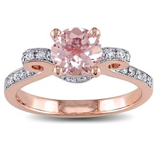 Miadora Signature Collection 14k Rose Gold Morganite and 1/4ct TDW Diamond Engagement Ring (G-H, I1-I2)