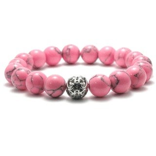 Women's Natural Pink and Black Texture Beads Stretch Bracelet