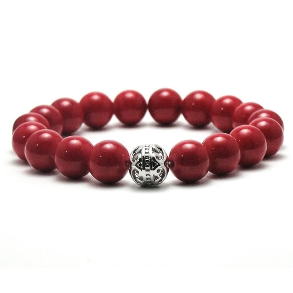 AALILLY Women's 10mm Red Natural Beads Stretch Bracelet 19850426