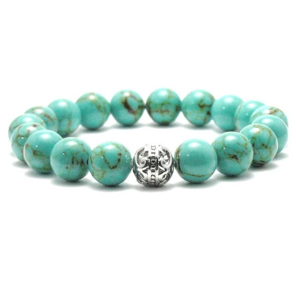 AALILLY Women's 10mm Turquoise and Black Texture Natural Beaded Stretch Bracelet 19850444