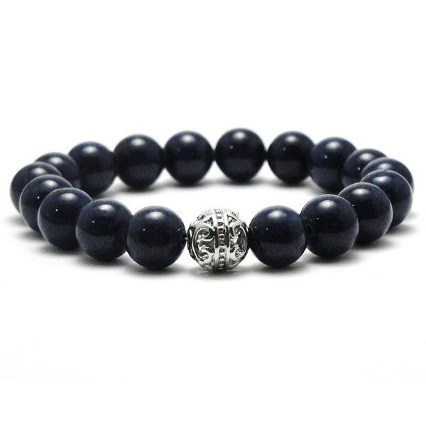 Women's 10mm Dark Blue Natural Beaded Stretch Bracelet