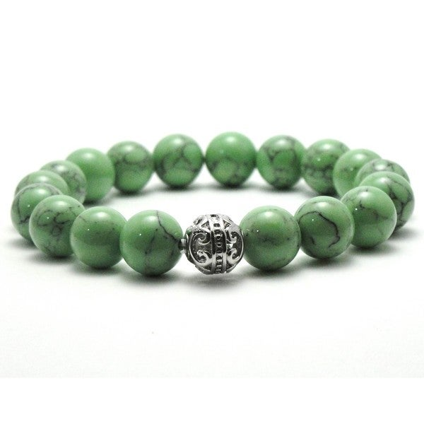 Women's 10mm Green Black Texture Natural Beads Stretch Bracelet 19850658
