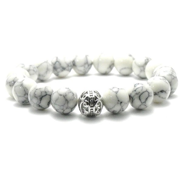 AALILLY Women's 10mm White and Black Texture Natural Beads Stretch Bracelet 19850659
