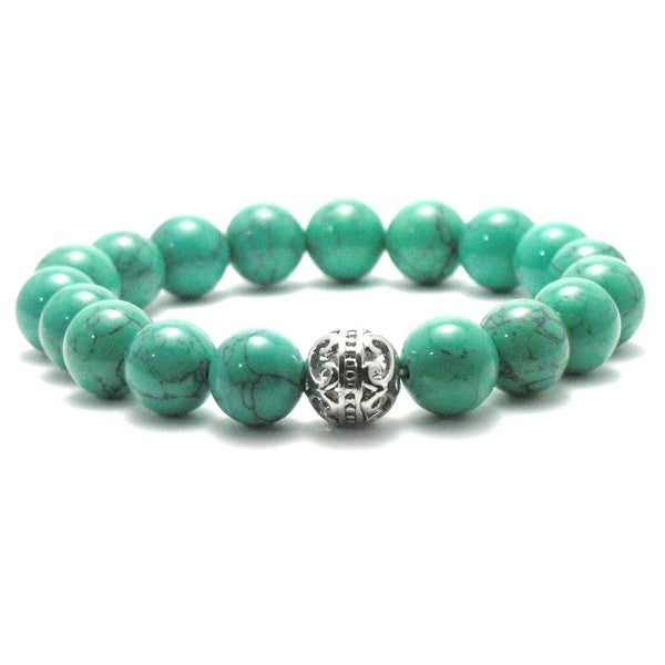 Women's 10mm Green Natural Beads Stretch Bracelet 19850660
