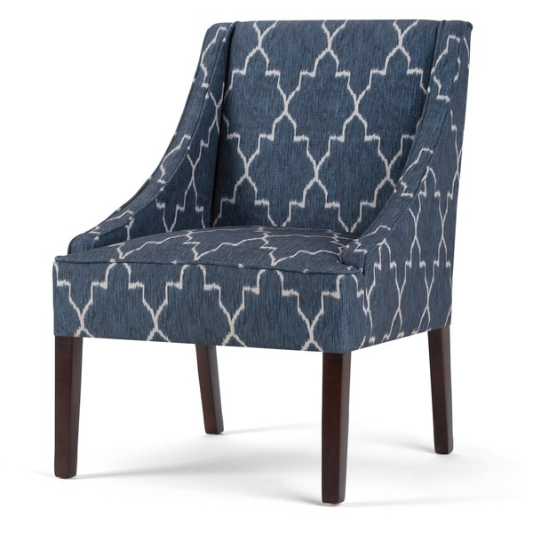 WYNDENHALL Lilith Cobalt Blue Moroccan Pattern Accent Chair